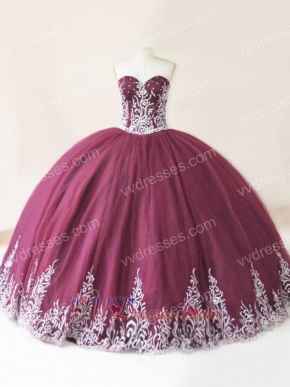 Best Seller Western Vestidos De Quinceanera In Burgundy With Silver Embroidery