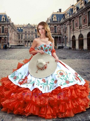 Embroidery White Quince Ball Gown With Four-Layers Wave Red Skirt Ride Horse