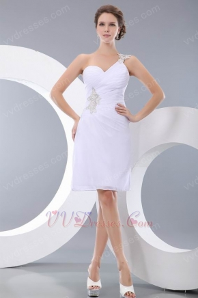 Affordable One Shoulder Backless White Chiffon Short Prom Dress