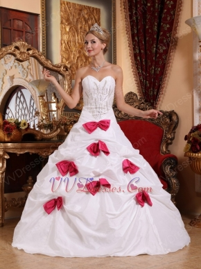 Deep Pink Bowknot Skirt White Quinceanera Dress 2014 Style