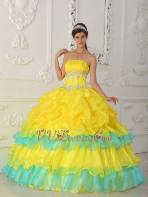 Bright Canary Yellow Layers Skirt La Quinceanera Dresses