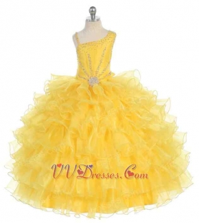 Asymmetric Straps Ruffles Little Pagent Puffy Dress Pretty Brigt Yellow