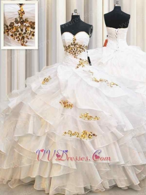 Crossed Layers Puffy Skirt White College Quinceanera Birthday Gown Gold Details