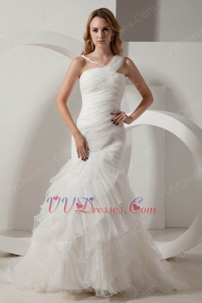 Beautiful Straps Ruffles Layers Skirt Mermaid Bridal Dress Sexy