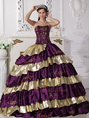 Purple and Golded Cascade Skirt Quinceanera Dress By Top Designer