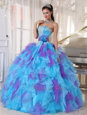 Aqua And Purple Puffy Quinceanera Dress With Detachable Belt