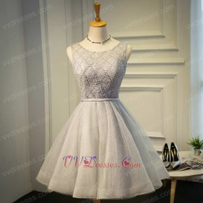 Scoop Silver Lace Knee Length Homecoming Dress For Young Girl