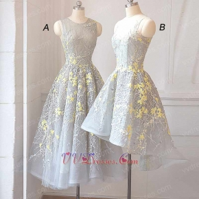 Silver Striated Lace Series Bridesmaid Dress Luminous Yellow Shivering