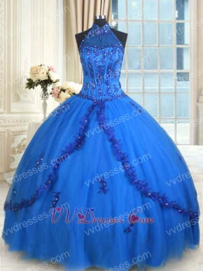 Halter Floor Length Multilayer Tulle Royal Blue Quinceanera Ball Gown Beauty Contest