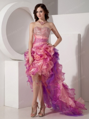 Contast Pink Color 2014 New Fashion High-low Prom Dress