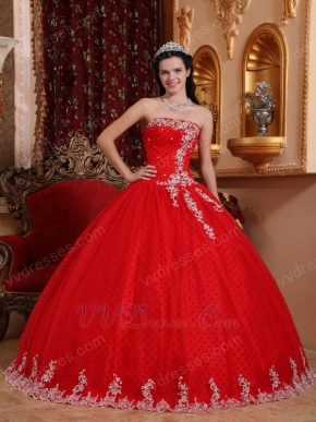 Appliqued Winter Red Strapless Quinceanera Dress Like A Princess