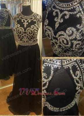 Black Ceremonial Prom Dress Fully Silver Squiggly Cup Chain Bodice