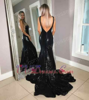 Black Sequin Lace Evening Beauty Pageant Dress V-Shaped Open Back