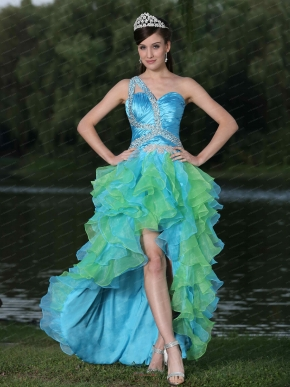 Aqua and Spring Green High-low Ruffles Cocktail Dress One Shoulder Design