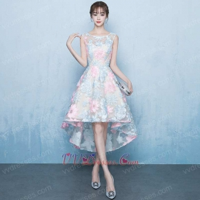 Pink & Blue Flowers Lace For Puberty Girls Wear Youthful Hi-Lo Homecoming