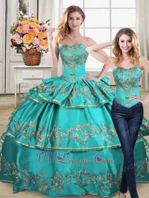Detachable Blouse/Layers Skirt Two Pieces Turquoise Quinceanera Gowns Gold Embroidery
