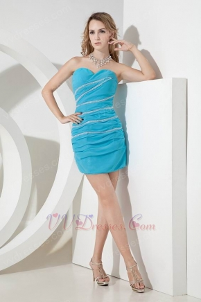 2014 New Arrival Aqua Blue Short Prom Dress With Beading