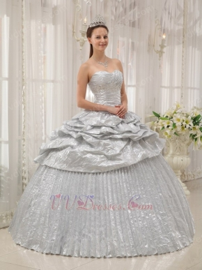 adult ceremony corset flaring silver dress to quinceanera