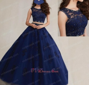 Scoop Neck Two-Pieces Twinset Navy Blue Dance Ball Gown Prom Girl