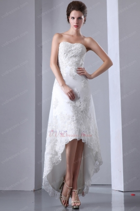 Custom Made Sweetheart High Low Asymmetrical Beach Bridal Dress