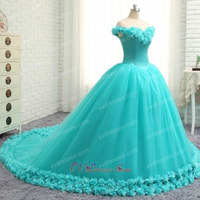 Graceful V Off Shoulder Puffy Aqua Quinceanera Gowns Handmade 3D Flowers