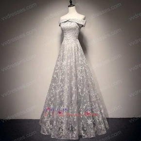 Unique Silver Lace Flat Shoulder Long Prom Evening Dress Make Stars Around You