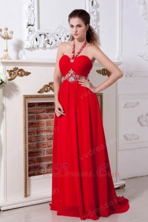 Red Chiffon Halter Floor Length Celebrity Evening Dresses