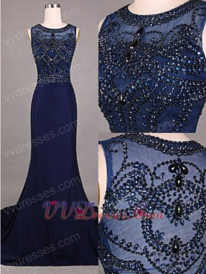 Civility Scoop Beading Navy Blue Mermaid Prom Dress For Mother