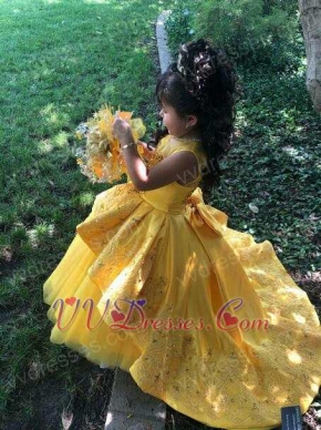 Designer Style Applique Little Girl Dress Beauty And The Beast Yellow Theme