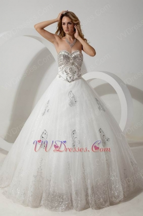 Luxurious Crystals Basque Corset Cathedral Train Wedding Dresses