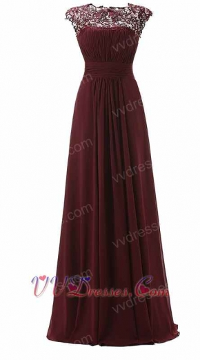 Exquisite Lace Scoop Neck Burgundy Mother Of Bride Prom Dress