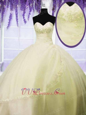 Shallowest Yellow Flat Mesh Gauze Girl's 15 Birthday Ball Gown With Lacework