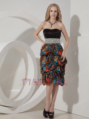 Short Leopard Printed Mother Of The Bride Dress With Beading