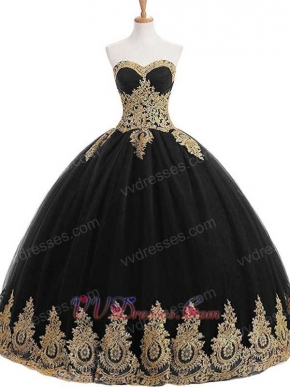 Sweetheart Black Tulle Gold Pineapple Applique Fluffy Military Evening Ball Gown Cheap