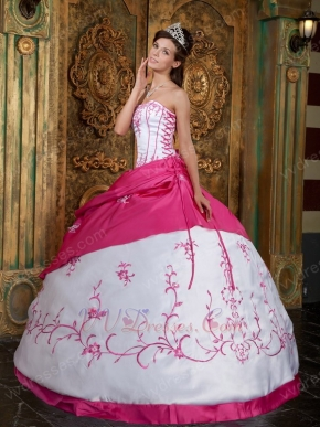 Basque Waist White Quinceanera Dress With Fuchsia Details