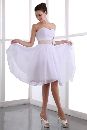 Short White Chiffon Bridesmaid Dress Under 100 Dollars