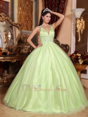 Straps V Neckline Yellow Green Open Back Quinceanera Dress