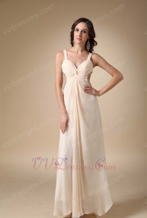 Sexy Straps Cross Back Bisque Chiffon Prom Party Dress