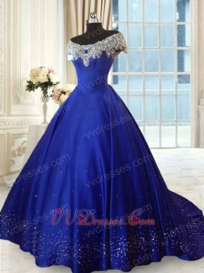 Off Shoulder Scoop Royal Blue Thick Satin Prom Ball Gown Silver Beadwork Hemline