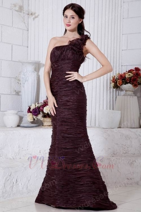 Unique Pleated Mermaid Brown Organza Evening Dress