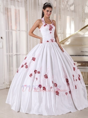 Halter White Quinceanera Dress With Wine Red Embroidery