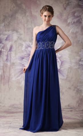 One Shoulder Backless Royal Blue Latest Prom Dress