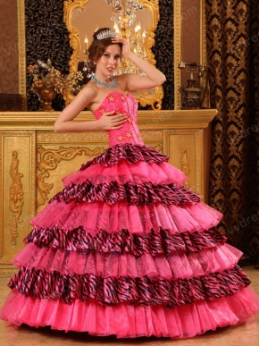 Rose Pink Beautiful Quinceanera Dress With Zabra Layers Skirt