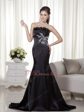 Black Mermaid Appliques Pageant Prom Evening Dresses