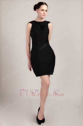 Backless Black Satin Short Dress For Bridal Mother Wear