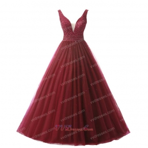 Simple Style Puffy A-line Wine Red Prom Ball Gown V Neck
