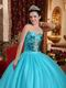 Popular Style Sky Blue Quinceanera Dress Flaring Sequin Bodice