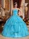 Cheap Aqua Blue Organza 2014 Prom Quinceanera Gown