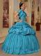 Cheap Teal Floor Length Puffy Quinceanera Dress With Jacket