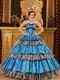 Cerulean Blue And Zebra Interphase Layers Quinceanera Dress